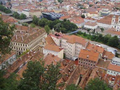 Graz 01 - Pohled na město ze Schlossbergu  (nahrál: Martin Svozil)