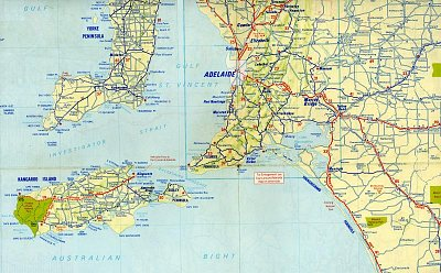 Mapa od Adelaide na jih - Mapa zachycuje okolí Adelaide spolu s Kangaroo Island (nahrál: Luboš)